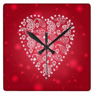 Paisley pattern white heart clock