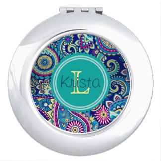 Paisley Pattern With Full Name Monogram Makeup Mirror