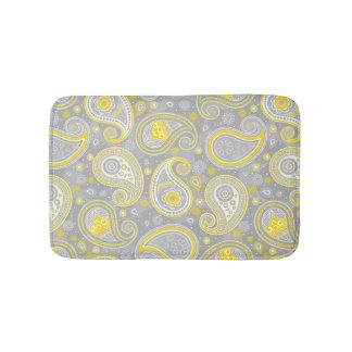 Paisley pattern yellow and grey elegant bath mat