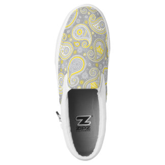 Paisley pattern yellow and grey Slip-On sneakers