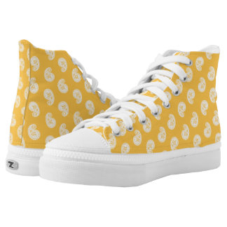 Paisley pattern yellow and white high tops