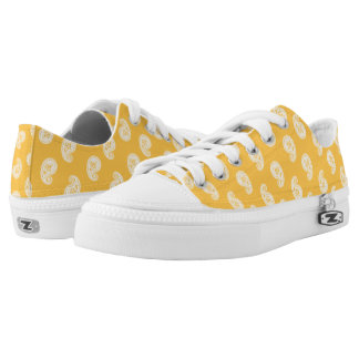 Paisley pattern yellow and white Low-Top sneakers