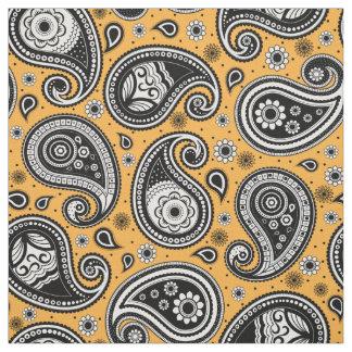 Paisley pattern yellow black white fabric