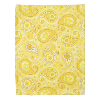 Paisley pattern yellow elegant duvet cover