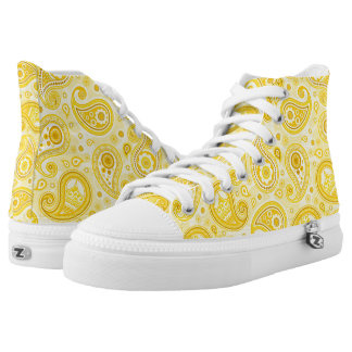Paisley pattern yellow high tops
