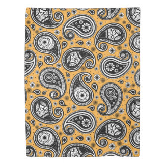 Paisley pattern yellow, white and black elegant duvet cover