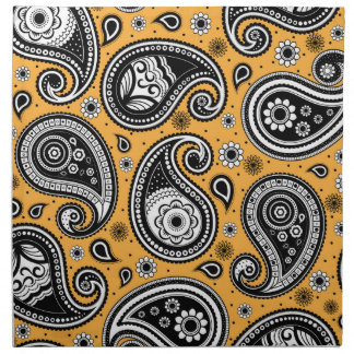 Paisley pattern yellow, white and black elegant napkin