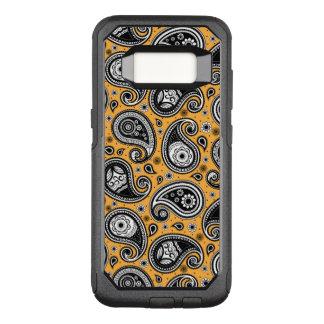 Paisley pattern yellow, white and black elegant OtterBox commuter samsung galaxy s8 case