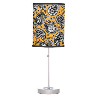 Paisley pattern yellow, white and black elegant table lamp
