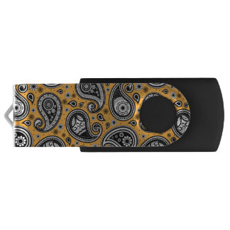 Paisley pattern yellow, white and black elegant USB flash drive