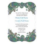Paisley Peacock Colours Die Cut Wedding Invitation