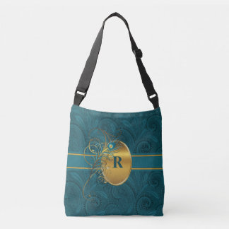 Paisley Peacock with Monogram in Teal and Gold Crossbody Bag