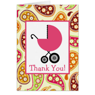 Paisley & Pink Carriage Baby Shower Thank You Card