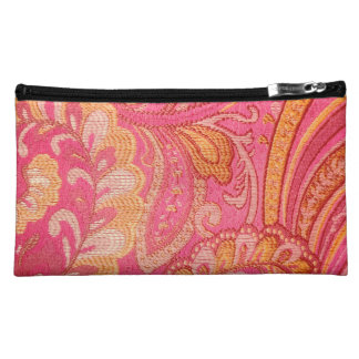 Paisley pink Yellow gold  cosmetic bag or purse