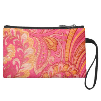 Paisley pink Yellow gold  sueded clutch purse Wristlets