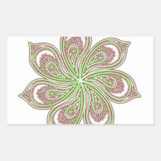 Paisley Pinwheel Pink Green Sticker