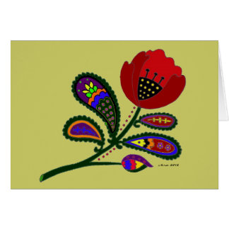 Paisley Poppy Ukrainian Folk Art Card