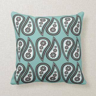 Paisley Print Pillows - Mint
