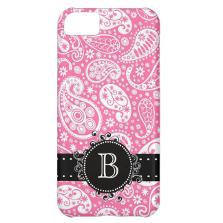 Paisley Print Pink with Girly Monogram Initial Cover For iPhone 5C
