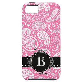Paisley Print   Pink with Girly Monogram Initial iPhone 5 Cover