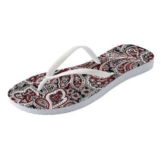 Paisley Red & Black Flip Flops
