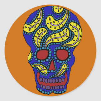 Paisley skull sticker in blue
