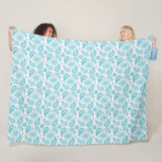 Paisley teal pattern. fleece blanket