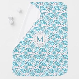 Paisley teal pattern. monogram. baby blanket