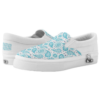 Paisley teal pattern. Slip-On sneakers