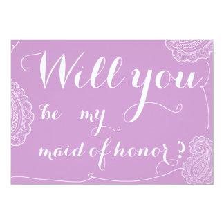 Paisley violet chic vous serez ma domestique carton d'invitation  12,7 cm x 17,78 cm