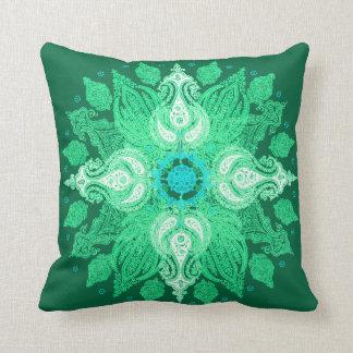 Paisley wheel emerald green sun flower throw pillow