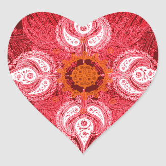 Paisley wheel red sun flower heart sticker