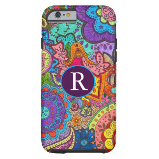 Paisley with Initial Tough iPhone 6 Case