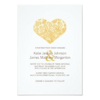 Paisley Yellow Heart Wedding Invitation