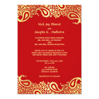 "Paisleys Elegant Indian Wedding Flat Invitation 5"" X 7"" Invitation Card"