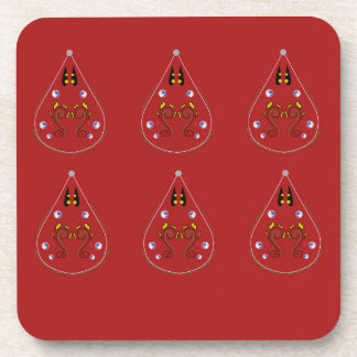 Paisleys hand drawn Red. Original Artwork Coaster