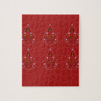 Paisleys hand drawn Red. Original Artwork Jigsaw Puzzle