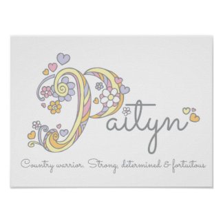 Paityn monogram art girls name and meaning poster