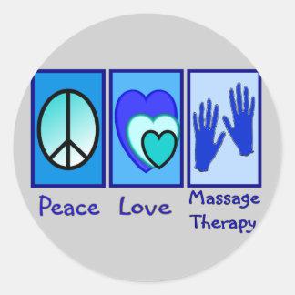 Paix, amour, cadeaux de thérapie de massage adhésifs ronds