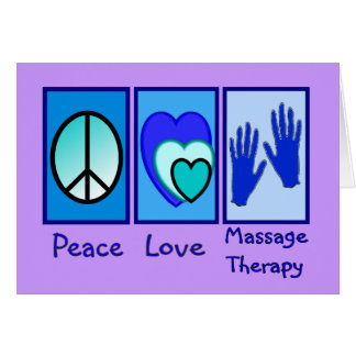Paix, amour, cadeaux de thérapie de massage cartes de vœux