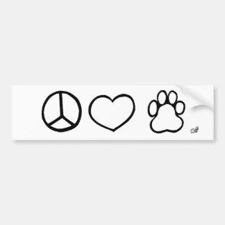 Paix, amour, chiens autocollant de voiture
