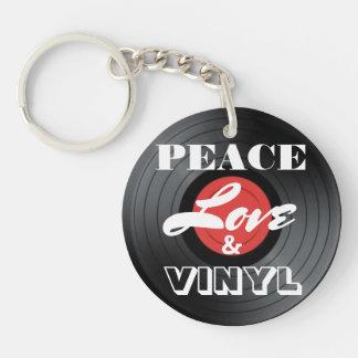 Paix, amour et vinyle porte-clé rond en acrylique double face