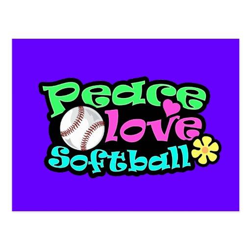 Paix, amour, le base-ball carte postale