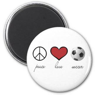 Paix, amour, le football magnet rond 8 cm