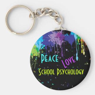 Paix, amour, porte - clé de psychologie d'école porte-clé rond