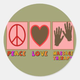 Paix, amour, thérapie de massage adhésif rond