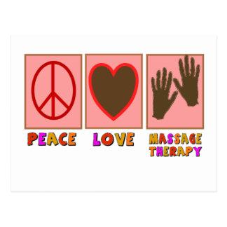 Paix, amour, thérapie de massage cartes postales