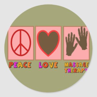 Paix, amour, thérapie de massage sticker rond