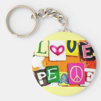 Paix d'amour porte-clé rond