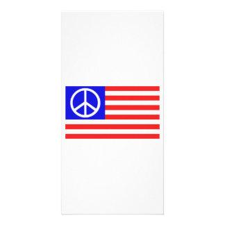 Paix de drapeau des USA Photocartes Personnalisées
